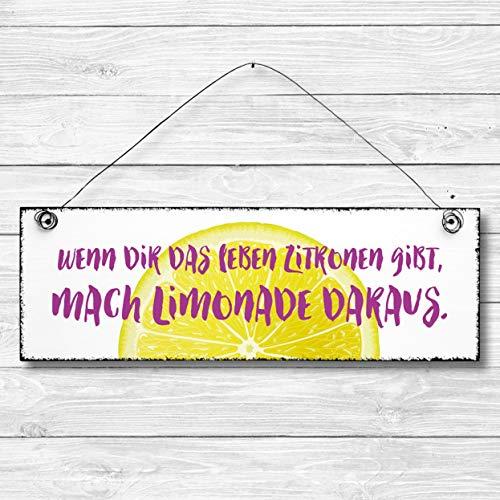 Wenn dir das Leben Zitronen gibt - Dekoschild Türschild Wandschild aus Holz 10x30cm - Holzdeko Holzbild Deko Schild