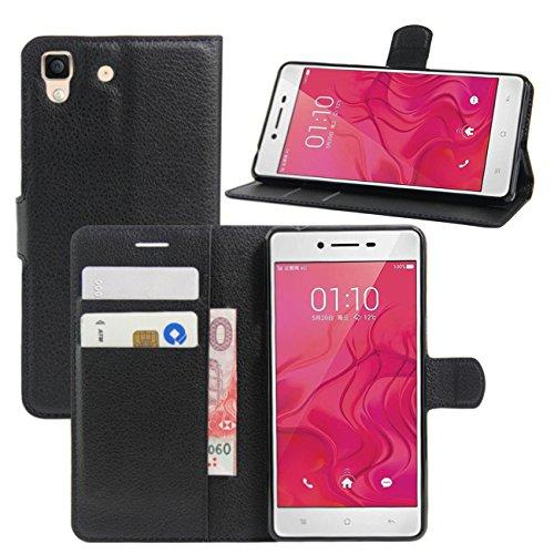 HualuBro Oppo R7 Hülle, [All Aro& Schutz] Premium PU Leder Leather Wallet HandyHülle Tasche Schutzhülle Flip Hülle Cover mit Karten Slot für Oppo R7 Smartphone (Schwarz)