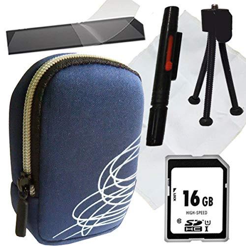 1A Photo PORST - Juego de funda para cámara Canon Powershot SX620 HS (incluye protector de pantalla, tarjeta SD de 16 GB, gamuza de microfibra, mini trípode y Pluma para limpieza), color azul