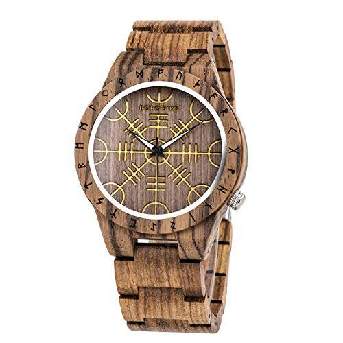 BOBO BIRD Mens Unique Engrave Wood Watches Luxury Stylish Watch Wood Strap with Bamboo Wooden Box (Brown)