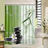 KTTO Stone Garden Zen Duschvorhang Wasserdicht Textil Polyester Stoff Mehltau Badzubehör 200X220cm