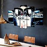 Yywife Cuadros Decoracion Salon Modernos 5 Piezas Lienzo Grandes XXL Murales Pared Hogar Pasillo Decor Arte Pared Abstracto Lewis Hamilton F1 Campeón Mercedes
