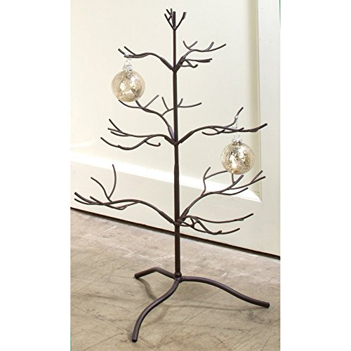 "Tripar Mahogany Metal Ornament Display Tree and Jewelry Organizer – 25"" Wire Ornament Stand and Necklace Holder Décor with 3 Tiers of Branches, Perfect for Wrought Iron Trees"