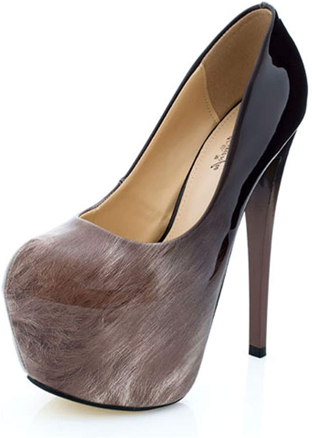 Women's Pumps Synthetic Leather Stilleto Very High Heel Platform Court shoes Gradient color Fashion shoes Wedding Party & Evening (color   A, Size   42)