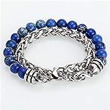 DMUEZW Bracelet Hommes Perles de Pierre chaîne en Acier Inoxydable Breloques Bracelet Bracelets Bijoux sur Mesure Cadeaux