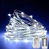 Cadena de luces LED - 50 LED Guirnalda Luces Pilas batería con mando a distancia y temporizador 8 modos para Decoración Interior, Navidad, bodas, fiestas, jardín y casa(blanco frío)