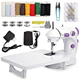 MinRi Mini Sewing Machine with Upgrade Extension Table Adjustable Double Threads and Two Speeds Portable Crafting Mending Machine Sewing Kit for Household, Travel, Kids, Beginners