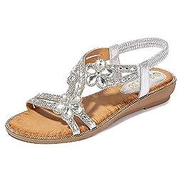 Silver T-Strap Beaded Flower Rhinestone Sandals