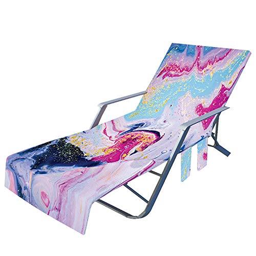 Funda para silla de playa con bolsillos laterales, funda de microfibra para silla de estar o tumbona, piscina, sol, jardín, playa, hotel, fácil de llevar, sin deslizamiento, teñido anudado