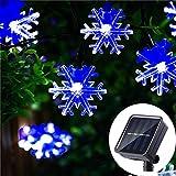 HUGSVIK 50 LED Solar Snowflake Lights String, 8 Modes Solar Christmas Lights Outdoor Blue Waterproof, Solar Christmas Snowflake String Lights for Outdoor Christmas Decoration Party Garden Yard Patio