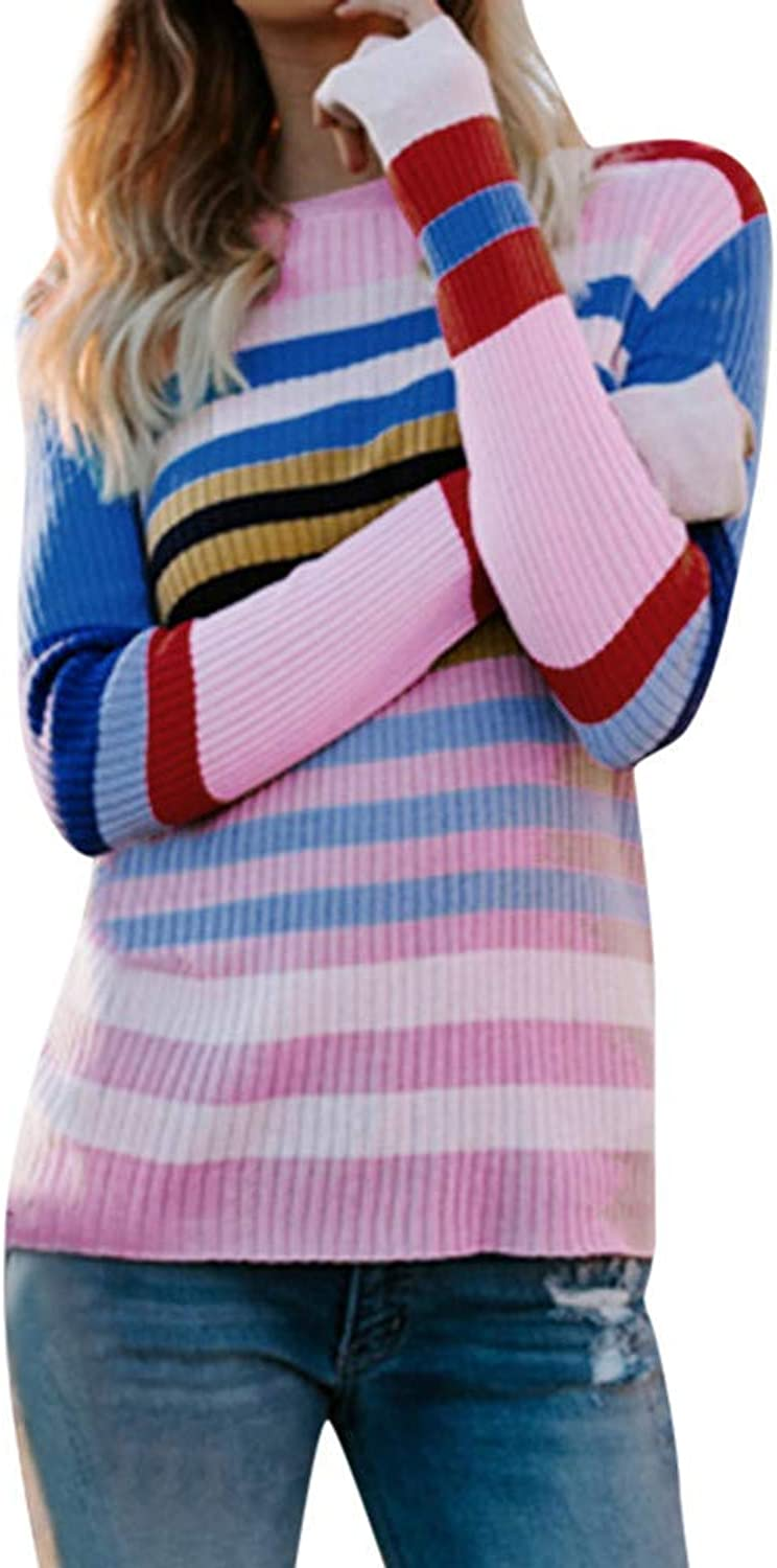 Womens Autumn Casual Long Sleeve Stripe colorful Sweater Fashion Casual Keep Warm Tops Wild Slim Fit Daily Shirts