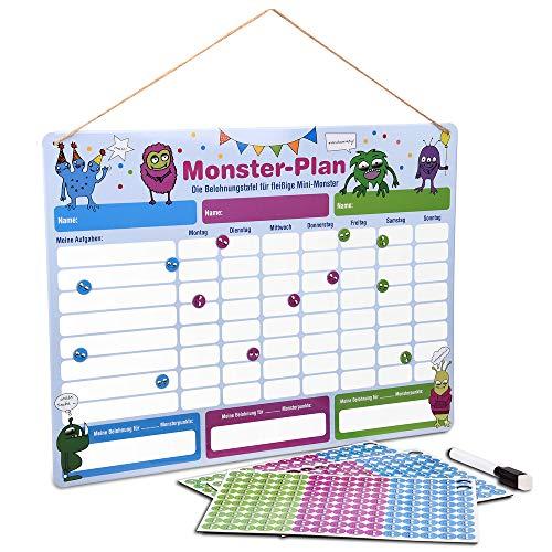 ewtshop® Monster Belohnungstafel, mit Monster-Magneten für bis zu DREI Kinder, 40 x 30 cm