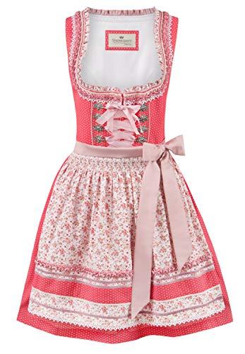 Stockerpoint Damen Dirndl Lou Kleid für besondere Anlässe, Flamingo-Flower, 36