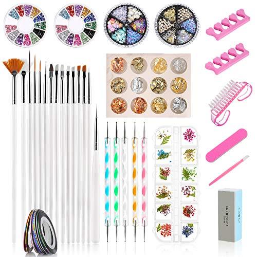 Kit de Accesorios Decoración Uñas Nail Art, GuKKK 59 Pcs Suministros de Uñas con Juego, 15 Pinceles para Uñas, Lápiz de Punto, Cintas Adhesivas Uñas, Uñas de Estrás, Kit de Herramientas para Manicura