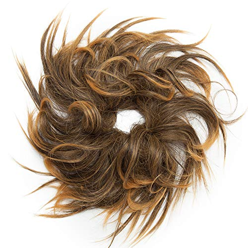 SEGO Haarteil Haargummi lockig Hochsteckfrisur Haarknoten Haarband Haar Extension natürlich 45G Dunkelbraun & Sandy Brown #4/144B