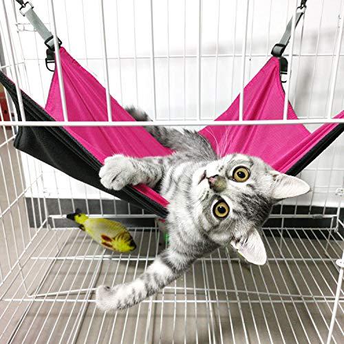 Shoplifemore Hamaca de gato transpirable para jaula, gato gatito animal verano malla transpirable hamaca colgante cojín cama (2 piezas - 42 x 56 x 0,3 cm), color rojo