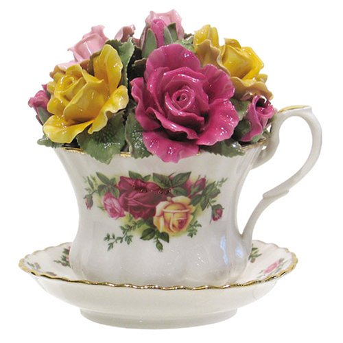 """Royal Albert Old Country Roses Musical Teacup, 4""""H, Mostly White with Multicolored Floral Print"""