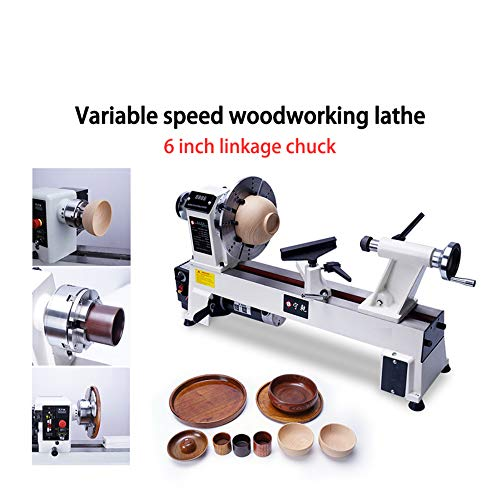 Upgrade Version Digital Readout Benchtop Wood Lathe 12 by 18inch 750W 6-inch chuck Variable speed