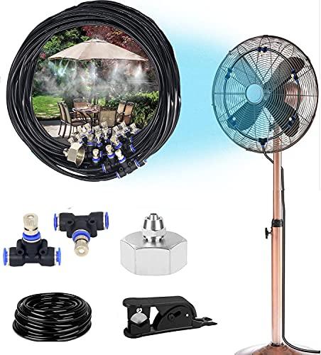 CINEMON Nebulizzatore da Esterno, Sistema Irrigazione Giardino di Raffreddamento con Ugello Regolabile, 10M Kit Nebulizzazione Acqua per Ombrellone Gazebo, Fan Sistema di nebulizzazione
