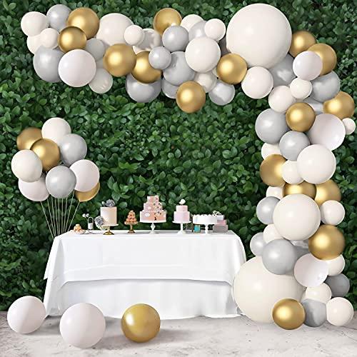 Kit de arco de guirnalda de globos blanco y gris, 104 piezas de decoración de fiesta, suministros de juego de globos, blanco mate, gris y cromado, globos dorados metálicos para fiesta de cumpleaños