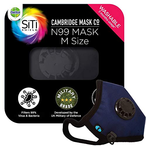 Dettol Cambridge N99 Mask for Protection from Virus, Bacteria, Pollution – Reusable, Washable, with Breathing Valve (Blue, Medium)