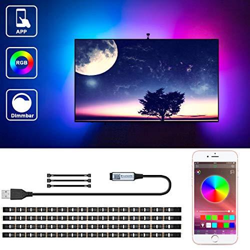 LED TV Hintergrundbeleuchtung Bluetooth, VOYOMO RGB LED-Streifen 2M (4 x 50CM) mit APP-Steuerung für 40-55 Zoll HDTV, TV-Bildschirm, PC, Spiegel Usw