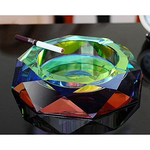 Rollsnownow Couleurs colorées en cendrier Cristal en verre Salle de séjour Diamètre extérieur 18 * 18 * 4 cm, diamètre intérieur 11 * 11 * 2.5 cm