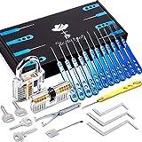 Kit Crochetage Serrure 25 Pièces - Lockpicking Tool Set en Acier Inoxydable Verrouillage Pick avec 2 Padlock Transparent, Bestargot®, pour Serruriers Débutant et Pro, BSTPL01