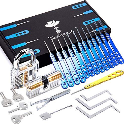 24-Teiliges lockpicking set, Dietrich Set, Bestargot® Blauer High-End-Lock Picking Set aus Rostfreiem Stahl mit 2 Transparenten Training Vorhängeschlössern