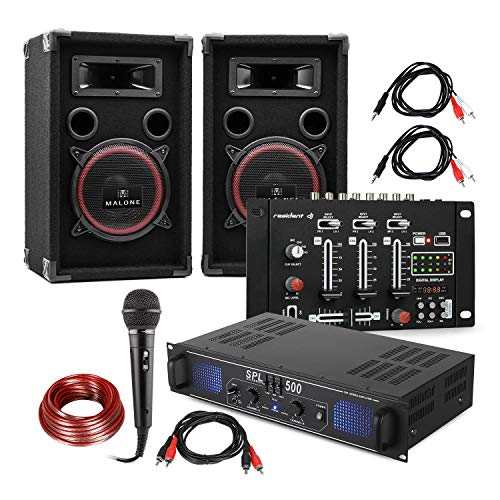 Electronic-Star Set DJ e PA DJ-14 BT - Amplificatore PA , Mixer Bluetooth , Coppia di Altoparlanti , Microfono Karaoke , Set di Cavi di Collegamento