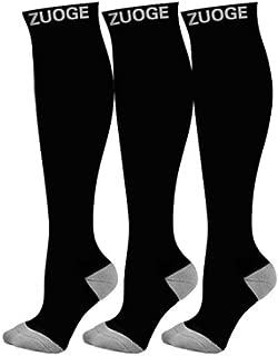 3 Pairs Compression Socks Pack - Best Medical, Nursing, Travel & Flight Socks - Running & Fitness - 15-20mmHg