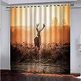 cortina opaca termica - Cortinas Opacas Telas Termicas Aislantes Frio Calor Ruido Luz Rayos UV para Salon y Dormitorio Conjunto Cortina (Ciervos de pastizales al atardecer - W168X183cmX2 panel)