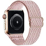 OHCBOOGIE Stretchy Solo Loop Strap Compatible with Apple Watch Bands 38mm 40mm 41mm,Adjustable Stretch Braided Elastics Weave Nylon Women Men for iWatch Series7/6/5/4/3/2/1 SE,Rose pink