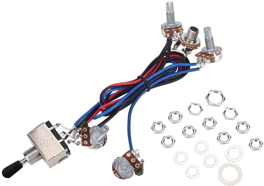 Guitar Wiring Harness, 3 Way Switch 2 Volume 2 Tone 1 Jack 500K Pots Compatible with Guitar