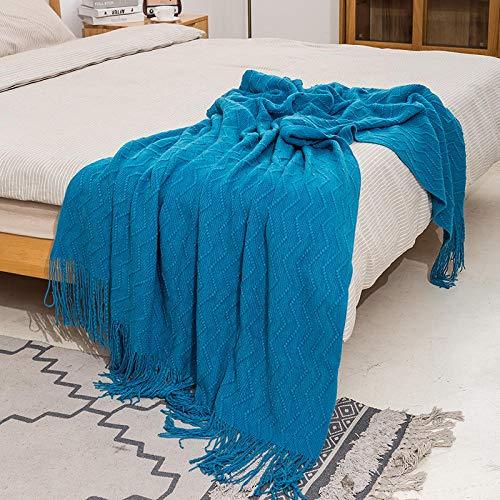XUMINGLSJ Mantas para Sofás de Franela- Manta para Cama Reversible de 100% Microfibre Extra Suave -Deep Lake Blue_El 130 * 175cm