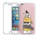 Coque iPhone 6, Coque iPhone 6S avec Verre Trempé, Etui Téléphone en Silicone Souple Cute Serie de Chat Transparent pour iPhone 6 / 6S
