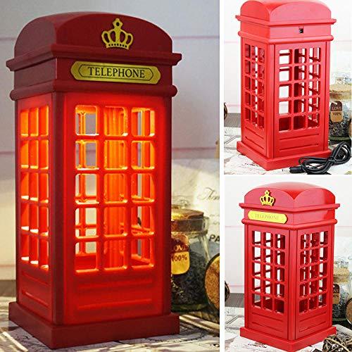 Nachtkastlampje, tafellamp, dimbare led London telefooncel vorm sfeerlamp met 3,5 mm USB-kabel (niet met batterij) cadeaus voor kinderverjaardag, Halloween en Kerstmis rood