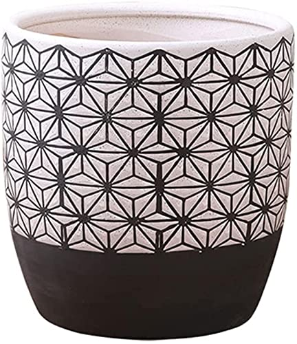 DZCGTP Flower Pots Outside 6.69 Inch Ceramic Flower Pot Home Office Coffee Table Desktop Decoration Flower Pot Chinese Flower Pot Black