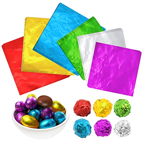 ZJW Schokolade Süßigkeiten Alufolie Verpackung Papier, Ideal zum Verpacken von hochwertiger hausgemachter Schokolade, 600 Stück 6 Farben