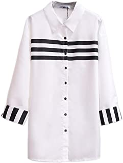 Plus Size Women's Shirt Shirt Long Sleeve White Solid Loose Long Casual Top for Everyday Wear, Four Seasons