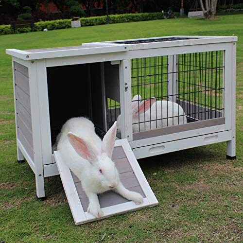 ROCKEVER Rabbit Hutch Indoor Bunny Cages Guinea Pig Hutch Wooden Small Animals Cage with Tray Grey
