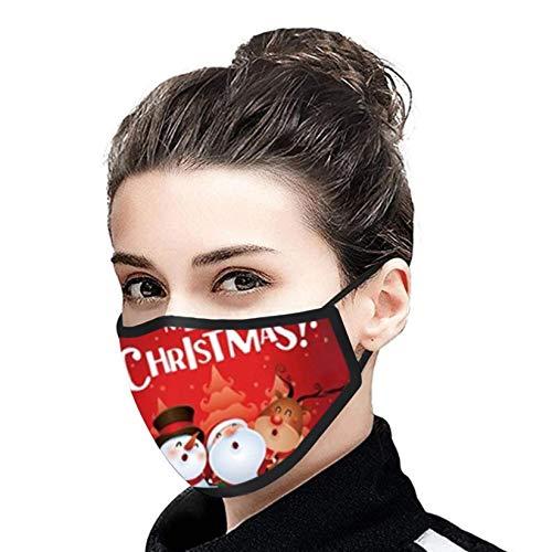 YYQX 1 Stück Mundschutz Weihnachtsdruck Staubschutz Baumwolle Waschbar Wiederverwendbar Mund-Nasen Bedeckung Atmungsaktiv Mundschutz