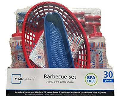 4th of July BBQ Picnic Serving Set with Plastic Hamburger Baskets, Food Basket Liners, Corn Trays, Corn Cob Holders, Ketchup & Mustard Condiment Bottles (Red, White, and Blue)