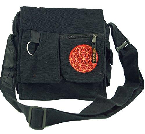 GURU SHOP Schultertasche, Hippie Tasche - Schwarz, Herren/Damen, Baumwolle, Size:One Size, 25x25x7 cm, Alternative Umhängetasche, Handtasche aus Stoff