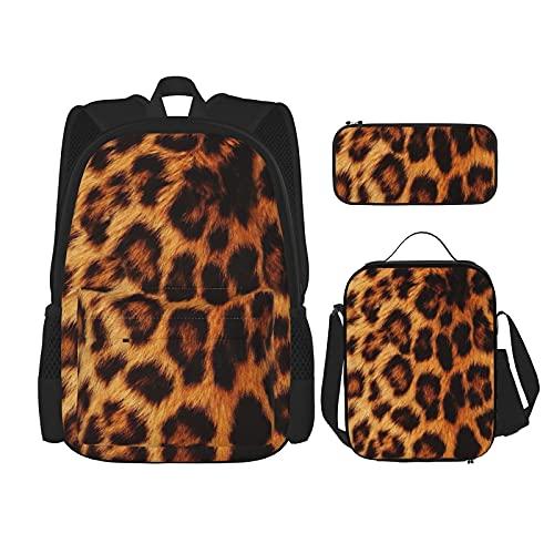 Zaino retrò per microscopio Set 3 pezzi Zaino per ragazzi e ragazze + Messenger Lunch Bag + Pencil Case Set
