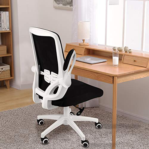 bigzzia Office Desk Chair Ergonomic Office Chair with Flip-up Armrest Computer Chair Mesh Task Chair with 360° Rotation Seat and Adjustable Lumbar Support, White