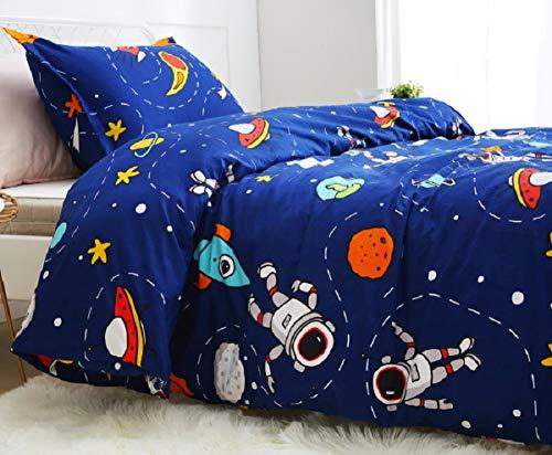 Lanqinglv Kids Boys Duvet Cover Set Single Size Universe Astronaut Print Space Blue Bedding Set (1 Quilt Cover with Zipper Closure and 1 Pillowcase)