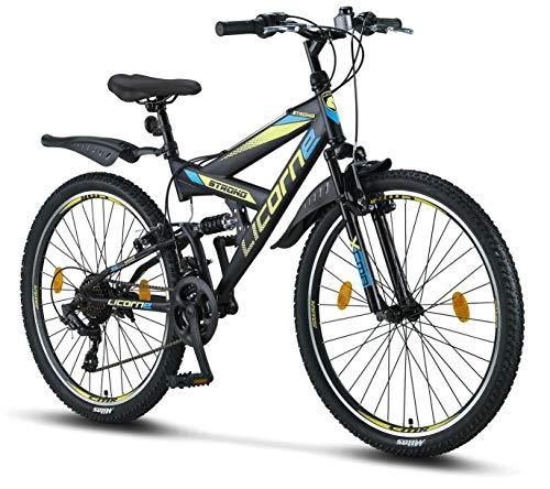 Licorne Bike Strong V Premium Mountainbike in 26 Zoll - Fahrrad für Jungen, Mädchen, Damen und Herren - Shimano 21 Gang-Schaltung - Vollfederung - Schwarz/Blau/Lime