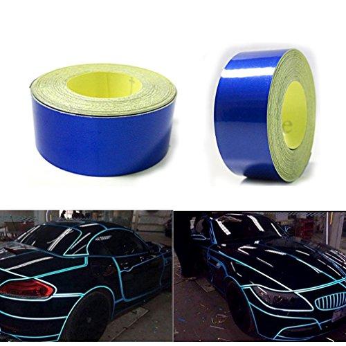 QEUhang 2 Stücke Reflektierendes Aufkleber 2CM X 5M Rennstreifen Zierstreifen Folie Styling Reflektieren Auto Motorrad Fahrrad Sicherheit Markierung Band Warntafel Seitenstreifen (Blau)