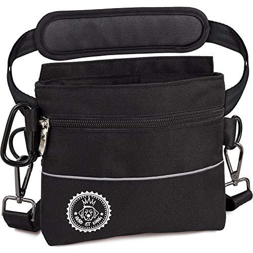 Bolsa de premios para perros con bolsillo magnético para una mano, 2 bolsillos con cremallera, bolsillo interior extraíble, correas acolchadas para el hombro, mosquetón gratuito.